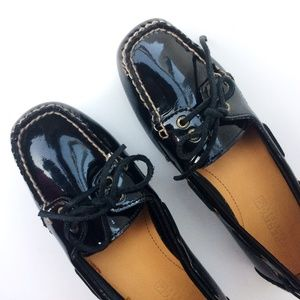 Sperry Top-Sider Patent Leather Loafers Sz 6 Black